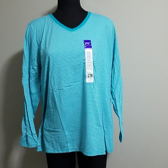 c89b31d2 Just My Size Tops | Blue Striped Long Sleeve Tee Shirt | Poshmark